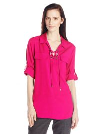 Calvin Klein Womenand39s Modern Essential Lace-Up Dolman in Pink at Amazon