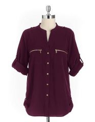 Calvin Klein Zip Pocket Blouse in Aubergine at Lord & Taylor