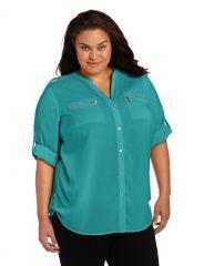 Calvin Klein Zip Roll Sleeve Shirt in lagoon at Amazon