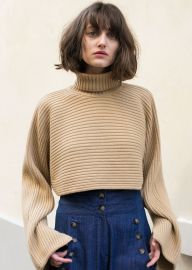 Camel Cropped Turtleneck Sweater by Frankie at Frankie