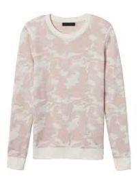 Camo print sweater in blush at Banana Republic