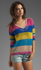 CandC California Linen Cotton Mesh Stripe Long Sleeve V-Neck Box Tee in Mirage  REVOLVE at Revolve