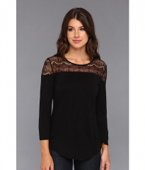 CandampC California LS Lace Top Black at Zappos