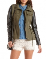 Canvas and PU sleeve jacket at Charlotte Russe