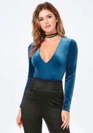 Cara Velvet Bodysuit at Bebe