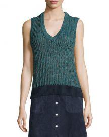 Carmen Colorblock Cable-Knit Tank  at Neiman Marcus