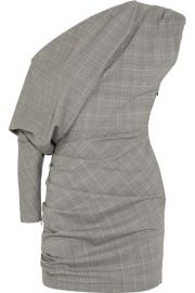 Carmen March One-shoulder gathered checked wool-blend mini dress at Net A Porter