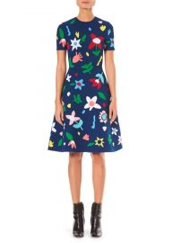 Carolina Herrera  Short Sleeve Floral Knit Dress at Saks Fifth Avenue