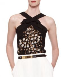 Carolina Herrera Beaded Crisscross Halter Top Black at Neiman Marcus