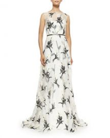 Carolina Herrera Daisy Floral Fil Coupe Gown at Neiman Marcus