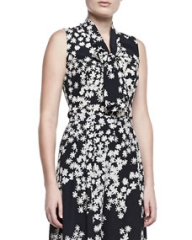 Carolina Herrera Daisy-Print Sleeveless Ascot Blouse at Neiman Marcus
