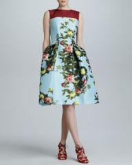 Carolina Herrera Floral Jacquard Full-Skirt Dress SkyMulticolor at Neiman Marcus