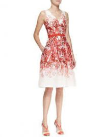 Carolina Herrera Full-Skirt Printed A-Line Dress at Neiman Marcus