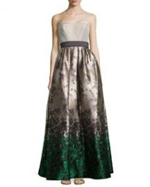 Carolina Herrera Strapless Floral Jacquard Ball Gown at Neiman Marcus