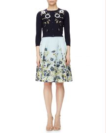 Carolina herrera Floral-embroidered Short Cardigan at Neiman Marcus