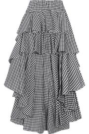 Caroline Constas   Giulia asymmetric ruffled gingham cotton skirt at Net A Porter