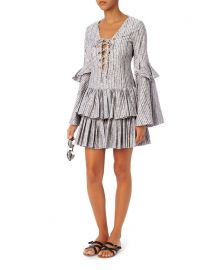 Caroline Constas Blue Striped Anastasia Dress at Amazon