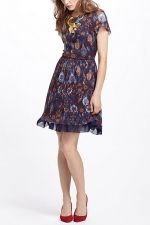 Caroline's floral dress at Anthropologie