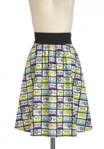 Carries cassette tape print skirt at Modcloth