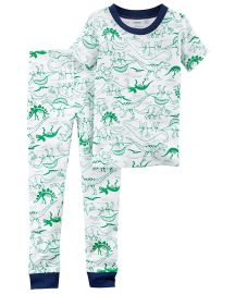 Cartr s Toddler Boy s Prehistoric Dinosaur Green Dino Sketch Print Cotton Pajama Set at Amazon