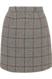 Carven   Checked wool-blend mini skirt at Net A Porter