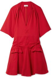 Carven   Lace-up ruched canvas mini dress at Net A Porter