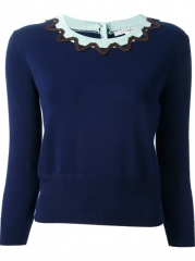 Carven Contrast Crew Neck Sweater - at Farfetch