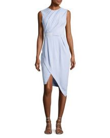 Carven Draped Half-Belt Dress  Light Blue   Neiman Marcus at Neiman Marcus