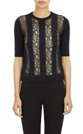 Carven Knit and Lace Striped Sweater at Barneys