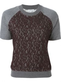 Carven Lace Panel Shortsleeved Sweatshirt  - Satand249 at Farfetch