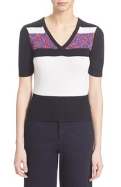 Carven Short Sleeve V-Neck Sweater at Nordstrom