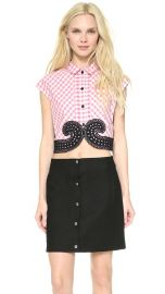 Carven Small Check Poplin Top at Shopbop