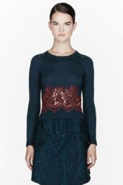 Carven Teal Lace Insert Sweater at SSENSE