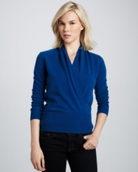 Cashmere wrap top at Neiman Marcus