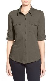 Caslon Roll Sleeve Cotton Knit Shirt in Olive at Nordstrom