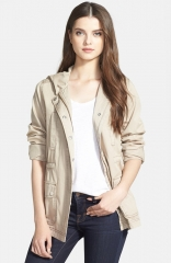 Caslonand174 Cotton Twill Hooded Jacket in Stone at Nordstrom