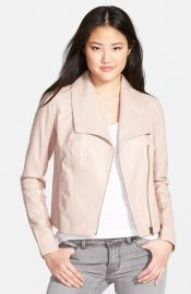 Caslonand174 Drape Collar Leather Jacket at Nordstrom