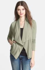 Caslonand174 Drape Neck Zip Cardigan in gren at Nordstrom