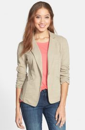 Caslonand174 Knit One-Button Blazer in beige at Nordstrom