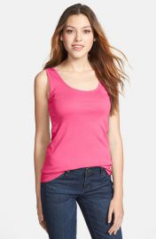 Caslonand174 Rib Knit Scoop Neck Tank in pink at Nordstrom