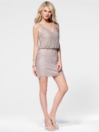 Caviar Beaded Blouson Dress at Cache
