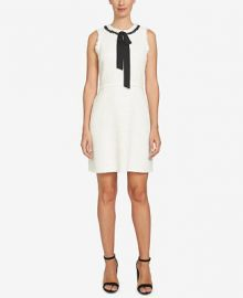 CeCe Textured Tie-Neck A-Line Dress at Macys