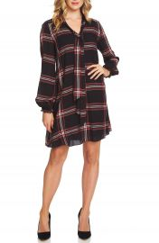 CeCe Tie Neck Metallic Plaid Woven Dress at Nordstrom