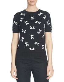Cece Short Sleeve Bow Jacquard Pullover at Lord & Taylor