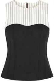 Cecil striped linen-blend and stretch-crepe top at The Outnet