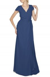 Ceremony by Joanna August  Aurele  Cap Sleeve Chiffon Wrap Gown at Nordstrom