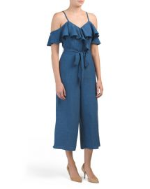 Chambray Gaucho Jumpsuit by ABS Collection at TJ Maxx