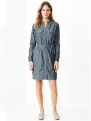 Chambray Utility Shirtdress at Gap