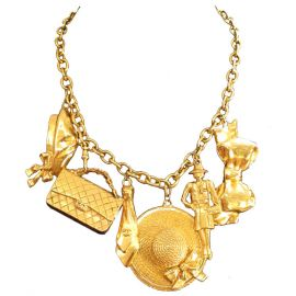 Chanel Gold Plated Charm Necklace at 1st Dibs