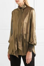 Charani pussy-bow lame blouse by By Malene Birger at Net A Porter